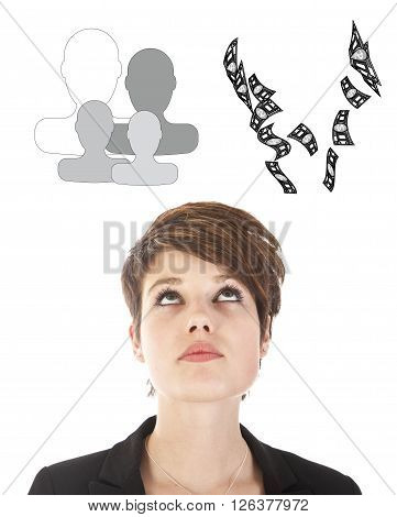 Young businesswoman making a choice between family or career isolated on white background