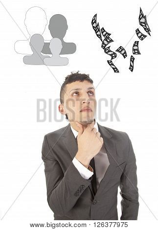 Young businessman making choice between family and career isolated on white background