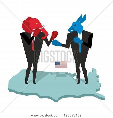 Donkey And Elephant Fight. Democrat And Republican Opposition. Businessmen Combat In Business Suit A