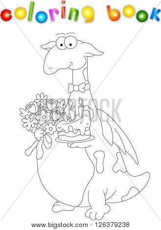 Cartoon Dragon With A Cake And Flowers. Coloring Book For Kids