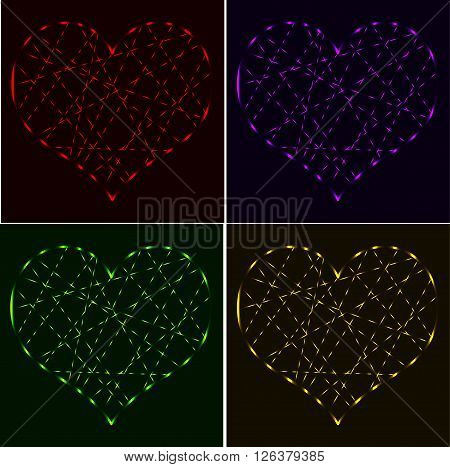 Set of red purple green gold laser neon hearts