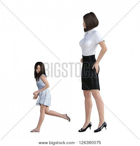 Mother Daughter Interaction of Girl in Trouble Running as an Illustration Concept 3D Illustration Render
