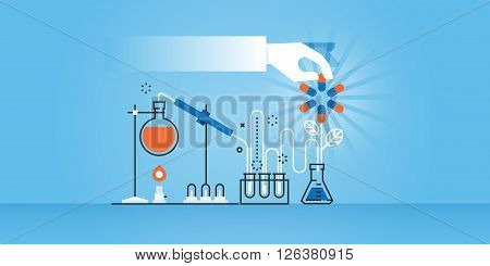 Flat line design website banner of medical research, laboratory, science, pharmacy. Modern vector illustration for web design, marketing and print material.
