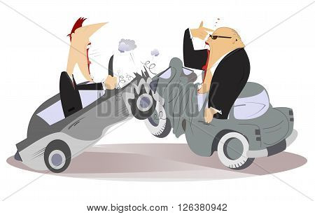 Road accident. Two angry men argue who is guilty of road accident