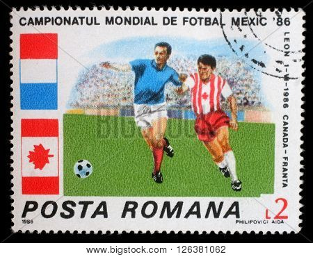 ZAGREB, CROATIA - JULY 19: a stamp printed in Romania shows Football World Cup, Mexico, circa 1986, on July 19, 2012, Zagreb, Croatia