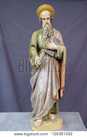 STITAR, CROATIA - DECEMBER 05: Saint Andrew, statue in the church of Saint Matthew in Stitar, Croatia on December 05, 2015