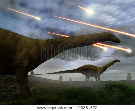 Brontosaurs look upon the meteors raining down that preceded the larger asteroid strike that would lead to the extinction of the dinosaurs 65 million years ago. 3D