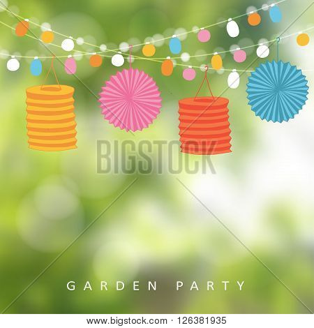 Birthday garden party or Brazilian june party vector illustration with string of lights paper lanterns and blurred background