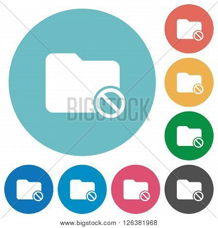 Flat disabled folder icon set on round color background.