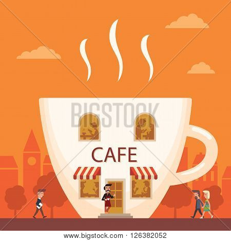Cafe in the form of a coffee cup. Building facade. A cup of coffee. People are going to a cafe in the city. Creative illustration of a coffee house.