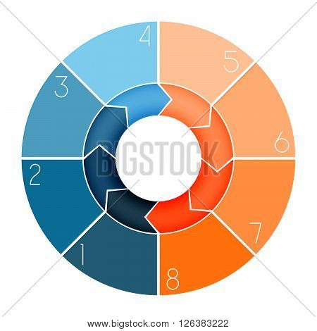 Template Infographic ring chart text area numbered for eight position