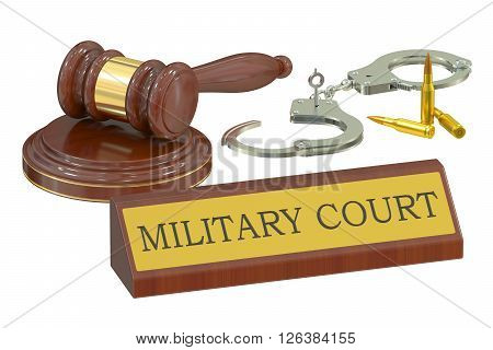 military court concept 3D rendering isolated on white background
