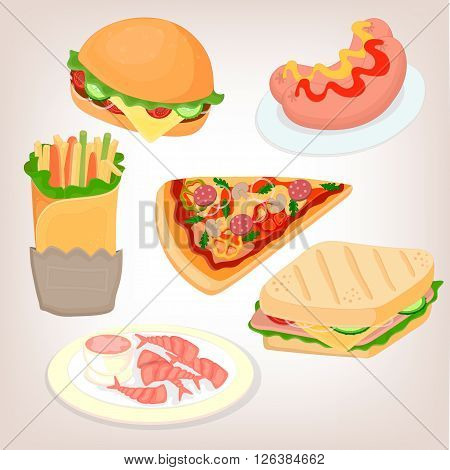 Fast food set: cheeseburger sandwich sausage shrimp with sauce and pizza