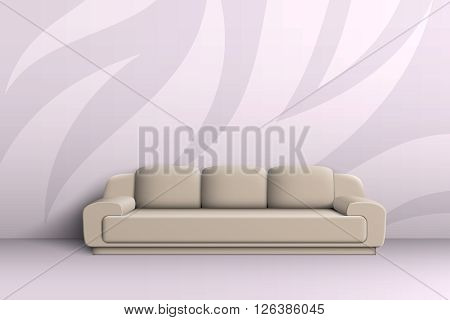 Three seater sofa with cushions in a room with patterned walls.
