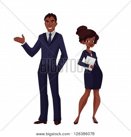 African businessman standing with business woman and smiling, cartoon vector illustration of two business people, man and black woman isolated outline people in all growth