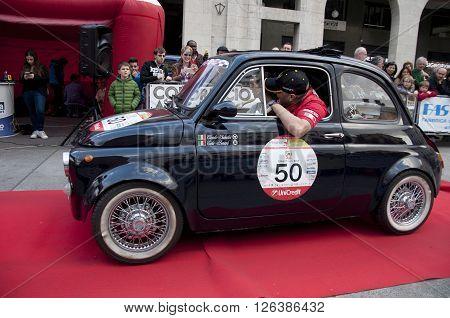 BRESCIA, ITALY - APRILE 17, 2016:500 Miglia. Finish. Fiat 500 Abarth 695 SS, 1970 built