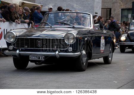 BRESCIA, ITALY - APRILE 17, 2016:500 Miglia. Finish. FIAT 1500 CABRIOLET, 1966 built
