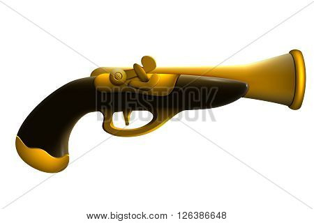 Antique gun for pirate gold. Toy simulation 3d.