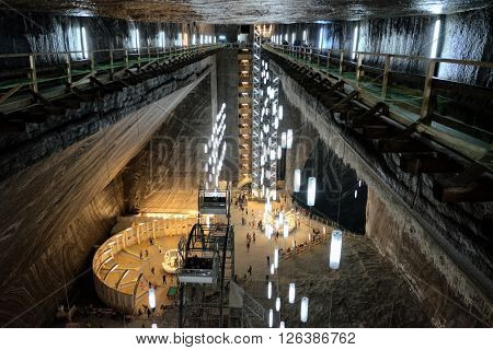 TURDA, ROMANIA - AUGUST 10, 2015: Salina Turda is a salt mine turned into a underground tourist attraction