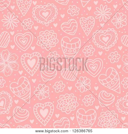 Cute Seamless Pattern in Doodle Hand Drawn Style. Different Hearts And Flowers. Vector Illustration For Greeting Card and Other Print Templates.