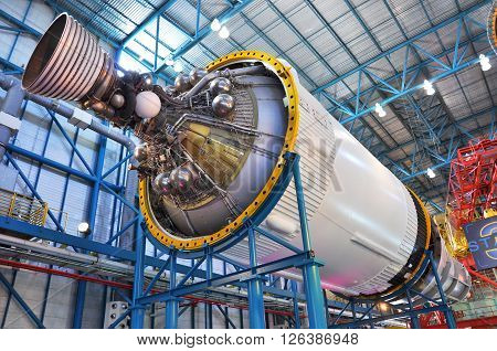FLORIDA, USA - DEC 20: Saturn V Rocket stage III displayed in Apollo/Saturn V Center, Kennedy Space Center Visitor Complex on Dec. 20, 2010 in Cape Canaveral, Florida, USA.
