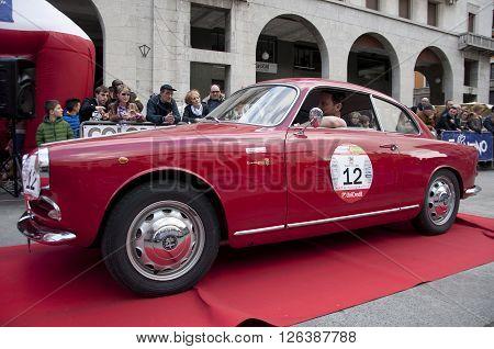 BRESCIA, ITALY - APRILE 17, 2016:500 Miglia. Finish. ALFA ROMEO GIULIETTA SPRINT, 1954 built