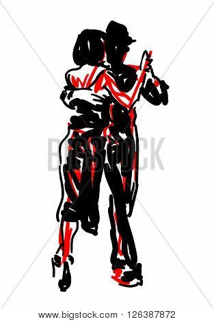 Sketched Tango Dancers in Red and Black