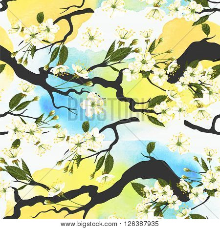 Blooming white cherry branches vector seamless background