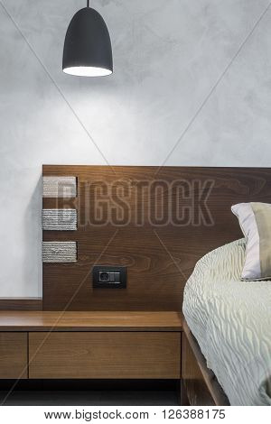 Bedroom Interior With Double Bed And Night Table