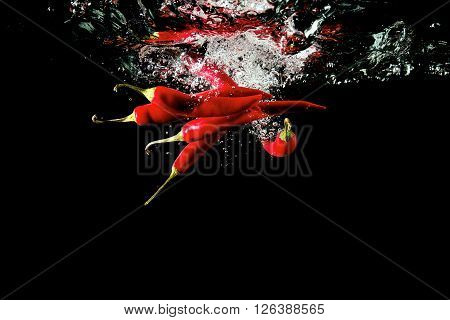 Several red peppers fallen into the water isolated on the black background