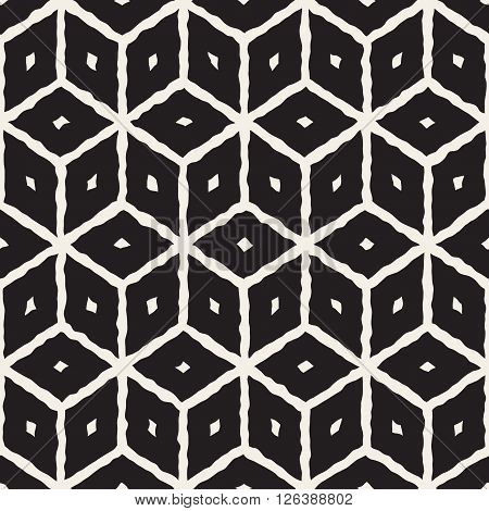 Vector Seamless Black And White Hand Painted Line Geometric Cube Pattern Abstract Background