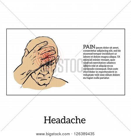 Picture a man with a headache, vector illustration sketch of a man who holds his hand to his head, pain in the head of a man, the concept of sickness or disease in the human head