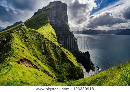 Kallur lighthouse in Kalsoy Island, Faroe Islands