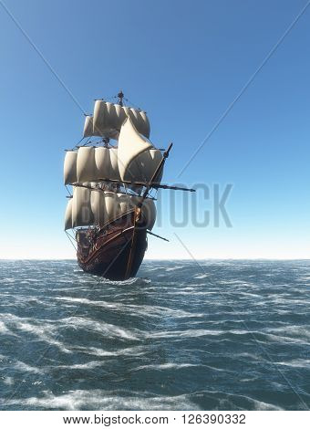 Vintage sailboat sailing in the sea.,3d render