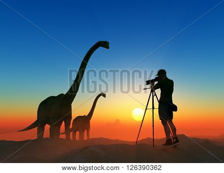 Silhouettes of photographer and dinosaur at sunset.,3d render