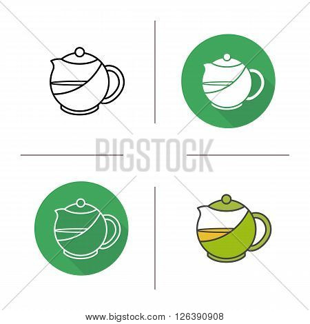 Tea infuser kettle flat design, linear and color icons set. Teapot in different styles. Contour and long shadow logo concepts. Isolated vector illustrations
