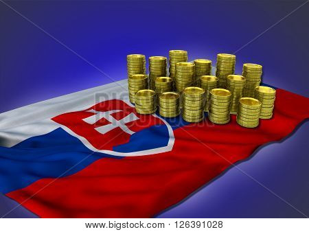 Slovak economy concept with national flag and stack of golden coins on blue background - 3D render