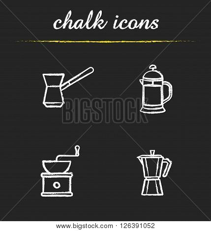 Coffee brewing tools chalk icons set. Turkish cezve, french press and classic coffee maker. Moka pot and coffee beans grinder. White illustrations on blackboard. Vector chalkboard logo concepts