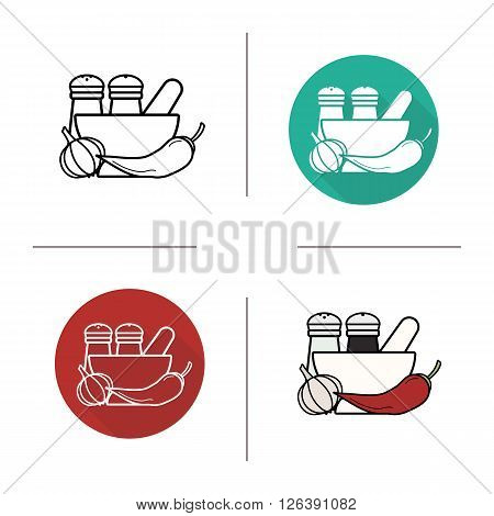 Spices flat design, linear and color icons set. Mortar and pestle, garlic and chili pepper. Salt and pepper shakers. Contour and long shadow logo concepts. Isolated vector illustartions