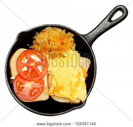 Scrambled Egg and Cheese Sandwhich and Hash Brown Casserole in cast iron skillet over white.
