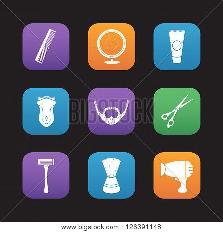 Shaving flat design icons set. Barber shop. Electric shaver, scissors and comb, facial hair care equipment, after shave cream, shaving brush and table mirror. Hairdryer and beard icons. Vector