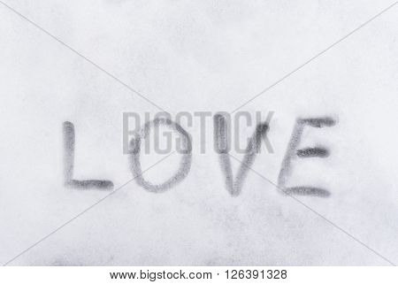 Love Word Writen On The Snow, Love Concept