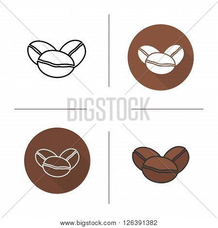 Coffee beans flat design, linear and color icons set. Roaster coffee grains in different styles. Contour and long shadow logo concepts. Isolated vector illustrations