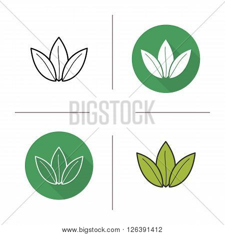 Green tea leaf flat design, linear and color icons set. Loose tea leaves in different styles. Contour and long shadow logo concepts. Isolated vector illustartions