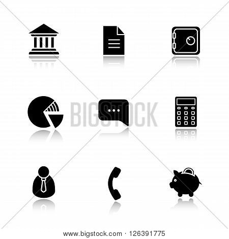 Finance and banking drop shadow icon set. Bank building and deposit box. Piggy bank and shares diagram. Client manager and calculate symbol. Investment and business illustrations. Vector logo concepts