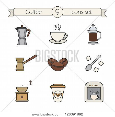 Coffee color icons set. Moka pot, cezve, spoon with sugar and steaming cup. Roasted coffee beans and french press. Espresso machine and coffee to go. Logo concepts. Vector isolated illustrations