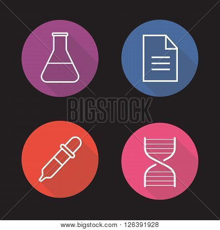 Laboratory flat linear long shadow icons set. Medical lab flask, test results, DNA stand and dropper symbols. Science research equipment. Outline logo concepts. Vector line art illustrations
