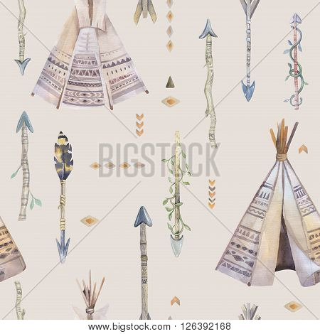 Watercolor boho seamless pattern with teepee arrows feathers. Decoration native tribal print. Aztec tomahawk ethnic design. Watercolour art children wallpaper. Isolated on white.