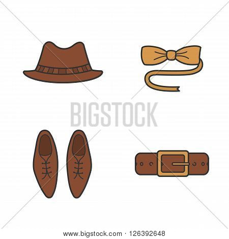 Men's accessories color icons set. Tuxedo butterfly tie. Homburg hat, leather belt and men's shoes. Hipster clothing. Logo concepts. Vector isolated illustrations