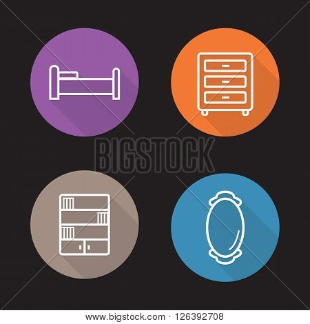 Furniture flat linear icons set. Bed, nightstand, bookcase and wall mirror symbols. Room interior items. Long shadow outline logo concepts. Vector line art illustrations